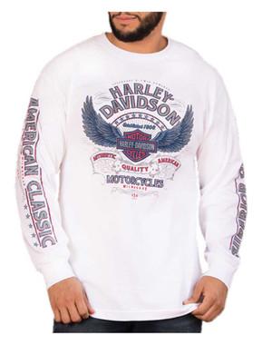 Harley-Davidson Men's Perception Winged B&S Long Sleeve Crew-Neck Shirt, White - Wisconsin Harley-Davidson