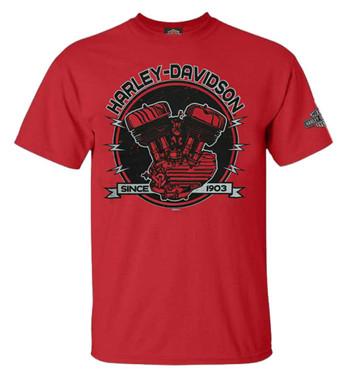 Harley-Davidson Men's Flathead Shock Crew-Neck Short Sleeve T-Shirt - Red - Wisconsin Harley-Davidson