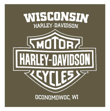 Harley-Davidson Men's Cracked & Distressed Chest Pocket Short Sleeve Tee, Green - Wisconsin Harley-Davidson