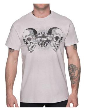 Harley-Davidson Men's Duo Skulls B&S Short Sleeve All-Cotton T-Shirt, Gray - Wisconsin Harley-Davidson