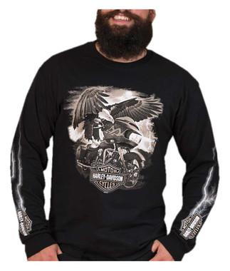 Harley-Davidson Men's Lightning Glide Long Sleeve Crew-Neck Cotton Shirt - Black - Wisconsin Harley-Davidson