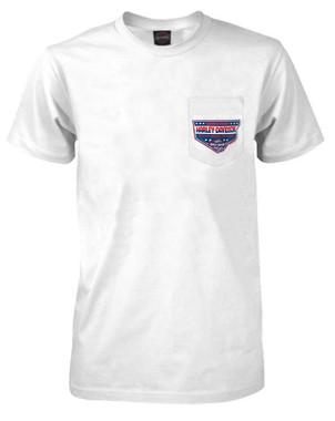 Harley-Davidson Men's Stars & Shield Chest Pocket Short Sleeve T-Shirt - White - Wisconsin Harley-Davidson