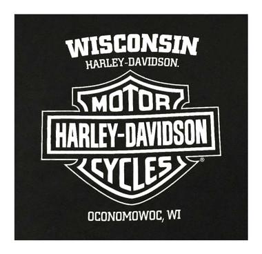 Harley-Davidson Men's Flames Distressed Sleeveless Pocket Muscle Shirt - Black - Wisconsin Harley-Davidson