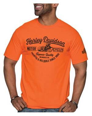 Harley-Davidson Men's Breeze Racer Crew-Neck Short Sleeve Cotton T-Shirt, Orange - Wisconsin Harley-Davidson