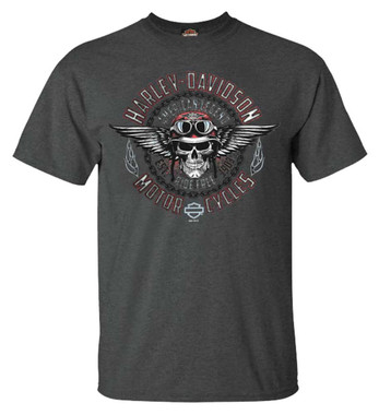 Harley-Davidson Men's Fortify Winged Skull Short Sleeve Poly-Blend T-Shirt, Gray - Wisconsin Harley-Davidson