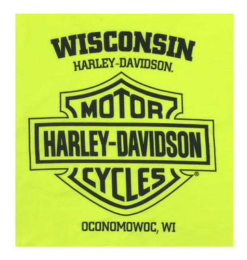Harley-Davidson Men's Cruiser Long Sleeve Chest Pocket Shirt - Safety Green - Wisconsin Harley-Davidson