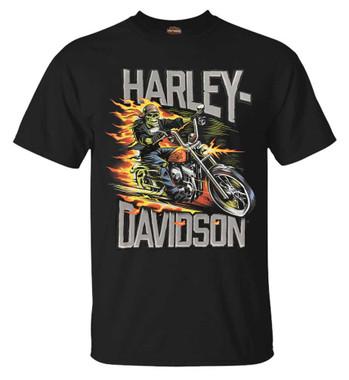 Harley-Davidson Men's Mean & Lean Biker Short Sleeve All-Cotton T-Shirt - Black - Wisconsin Harley-Davidson