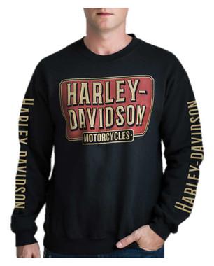 Harley-Davidson Men's H-D Sign Pullover Fleece Poly-Blend Sweatshirt - Black - Wisconsin Harley-Davidson
