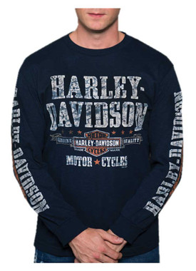 Harley-Davidson Men's Distressed Adventurer Long Sleeve Crew-Neck Shirt - Navy - Wisconsin Harley-Davidson