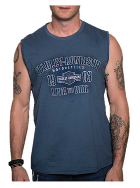 Harley-Davidson Men's Conquests Sleeveless Crew-Neck Muscle Shirt - Blue - Wisconsin Harley-Davidson