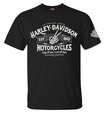 Harley-Davidson Men's Distressed Wave All-Cotton Short Sleeve T-Shirt, Black - Wisconsin Harley-Davidson