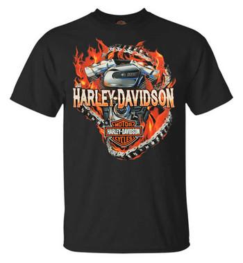 Harley-Davidson Men's Chain Breaker Flaming Engine Short Sleeve T-Shirt, Black - Wisconsin Harley-Davidson