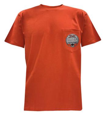 Harley-Davidson Men's Fast Lane Chest Pocket Short Sleeve T-Shirt - Orange - Wisconsin Harley-Davidson