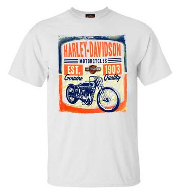 Harley-Davidson Men's Vintage Track Short Sleeve Crew-Neck T-Shirt, White - Wisconsin Harley-Davidson
