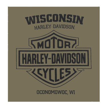 Harley-Davidson Men's Primitive Eagle Short Sleeve Crew T-Shirt - Military Green - Wisconsin Harley-Davidson