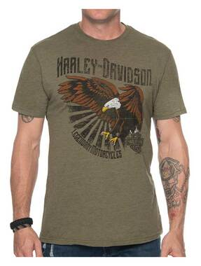 Harley-Davidson Men's Primitive Eagle Short Sleeve Crew T-Shirt - Military Green - Wisconsin Harley-Davidson
