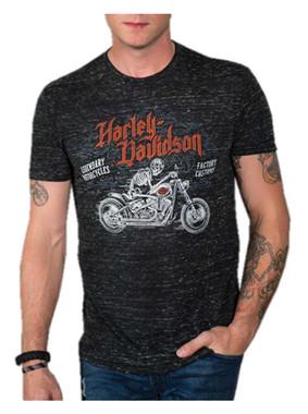 Harley-Davidson Men's See Ya Later Short Sleeve Poly-Blend Shirt, Black Blizzard - Wisconsin Harley-Davidson