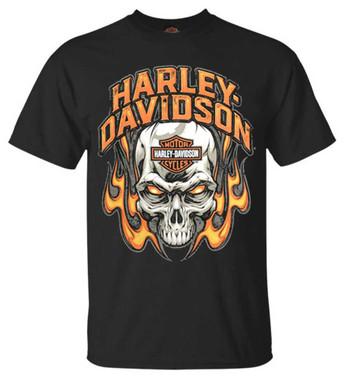 Harley-Davidson Men's Toasty Flaming Skull Crew-Neck Short Sleeve T-Shirt, Black - Wisconsin Harley-Davidson