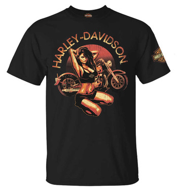 Harley-Davidson Men's Candy Pin-Up Crew-Neck Short Sleeve T-Shirt - Black - Wisconsin Harley-Davidson