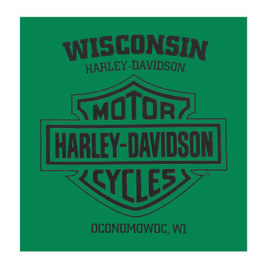 Harley-Davidson Men's Roadblock H-D Short Sleeve Crew-Neck T-Shirt, Kelly Green - Wisconsin Harley-Davidson