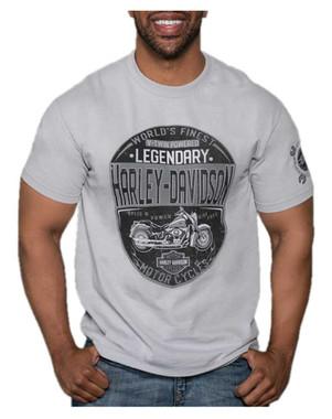 Harley-Davidson Men's Rumble Defenders Short Sleeve Crew Neck T-Shirt, Silver - Wisconsin Harley-Davidson