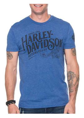 Harley-Davidson Men's Legend Has It Tri-Blend Short Sleeve Shirt, Vintage Royal - Wisconsin Harley-Davidson