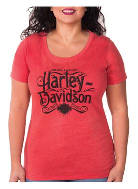 Harley-Davidson Women's Miss Flowy H-D Crew-Neck Short Sleeve T-Shirt - Red - Wisconsin Harley-Davidson