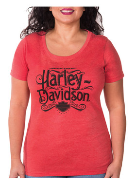 Harley-Davidson Women's Miss Flowy H-D Crew-Neck Short Sleeve T-Shirt - Red - Wisconsin Harley-Davidson