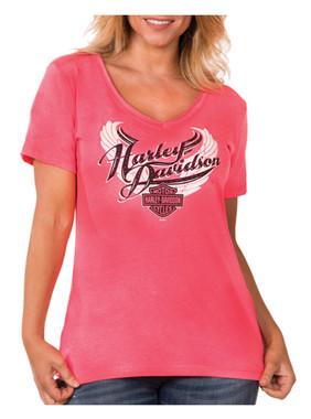 Harley-Davidson Women's Embellished Flutter V-Neck Short Sleeve T-Shirt, Pink - Wisconsin Harley-Davidson