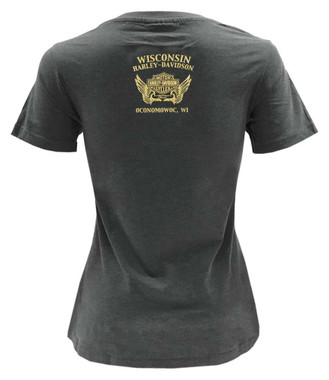 Harley-Davidson Women's Rainbow Foil Diamond Short Sleeve Crew T-Shirt - Gray - Wisconsin Harley-Davidson