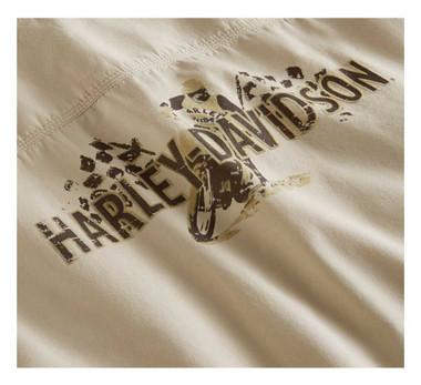 Harley-Davidson Mens Flat Track Button Front Short Sleeve Shirt White 96012-20VM - Wisconsin Harley-Davidson