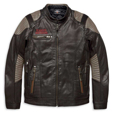 Harley-Davidson Mens Exhort Mid-Weight Buffalo Leather Layered Jacket 97006-20VM - Wisconsin Harley-Davidson