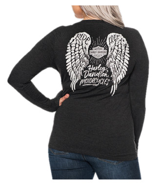 Harley-Davidson Women's Step Back Long Sleeve T-Shirt w/ Thumbholes, Black - Wisconsin Harley-Davidson