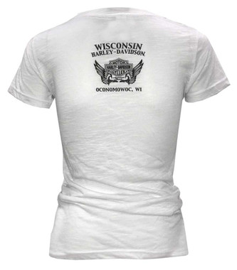 Harley-Davidson Women's Fire Ink Embellished V-Neck Short Sleeve T-Shirt, White - Wisconsin Harley-Davidson