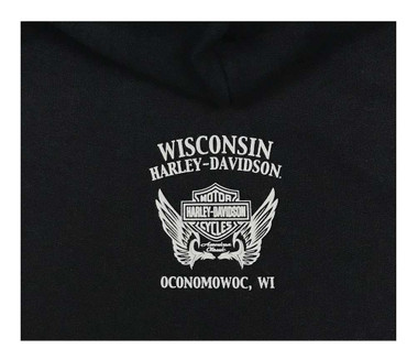 Harley-Davidson Women's Embellished Captivating Winged Pullover Hoodie, Black - Wisconsin Harley-Davidson