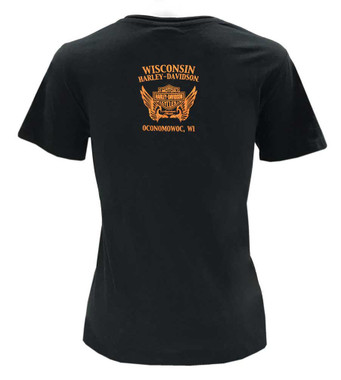 Harley-Davidson Women's Urban Grunge Short Sleeve Stretch Cotton T-Shirt - Black - Wisconsin Harley-Davidson