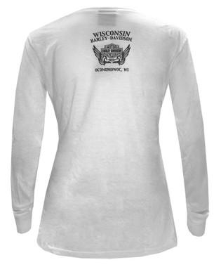 Harley-Davidson Women's Embellished Style Long Sleeve Poly-Blend Shirt - White - Wisconsin Harley-Davidson