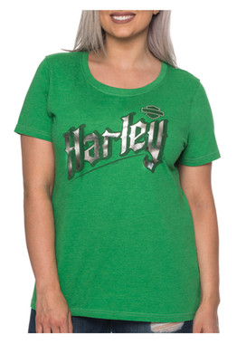 Harley-Davidson Women's Goth Metallic Short Sleeve Scoop Neck Tee, Kelly Green - Wisconsin Harley-Davidson