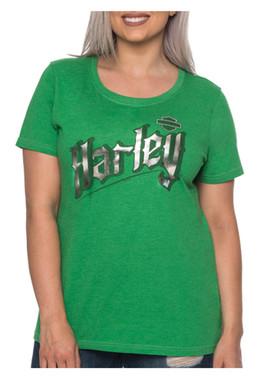 Harley-Davidson Women's Goth Metallic Short Sleeve Scoop Neck Tee, Kelly Green - Wisconsin Harley-Davidson