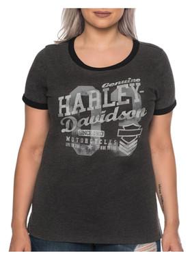 Harley-Davidson Womens Thrill Seeker Short Sleeve Crew Ringer Tee, Heather Black - Wisconsin Harley-Davidson