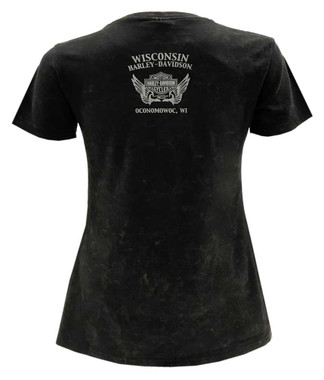 Harley-Davidson Women's Embellished Sugar Skull Short Sleeve T-Shirt - Black - Wisconsin Harley-Davidson