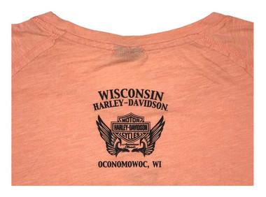 Harley-Davidson Women's Rose Label Metallic Long Sleeve Raglan Shirt, Coral - Wisconsin Harley-Davidson