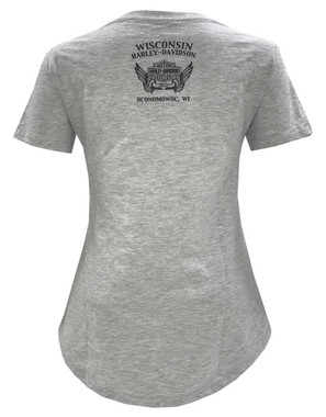 Harley-Davidson Women's Irresistible Wing Scoop Neck Short Sleeve T-Shirt, Gray - Wisconsin Harley-Davidson