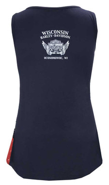 Harley-Davidson Women's Liberty American Flag Sleeveless Stretchy Tank Top, Blue - Wisconsin Harley-Davidson