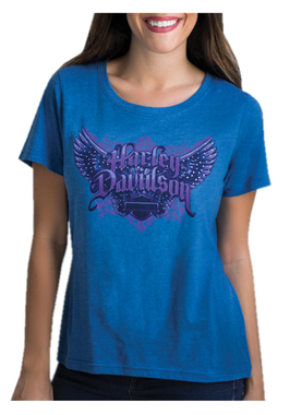 Harley-Davidson Women's Wing It Studded Short Sleeve Scoop Neck T-Shirt, Blue - Wisconsin Harley-Davidson