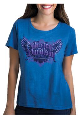Harley-Davidson Women's Wing It Studded Short Sleeve Scoop Neck T-Shirt, Blue - Wisconsin Harley-Davidson