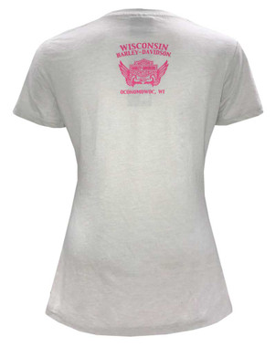 Harley-Davidson Women's Rhinestone Pink Gold Short Sleeve Crew T-Shirt - Gray - Wisconsin Harley-Davidson