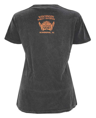 Harley-Davidson Women's Born This Way Premium Tee w/ Shoulder Slits - Gray - Wisconsin Harley-Davidson