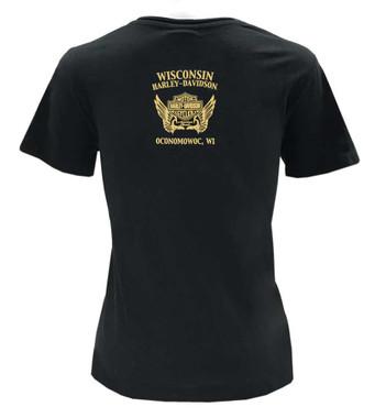 Harley-Davidson Women's Gold Metallic Cluster B&S Short Sleeve T-Shirt - Black - Wisconsin Harley-Davidson