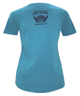 Harley-Davidson Women's Embellished Back Roads Short Sleeve Crew Neck Tee - Blue - Wisconsin Harley-Davidson
